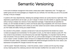 Semantic versioning